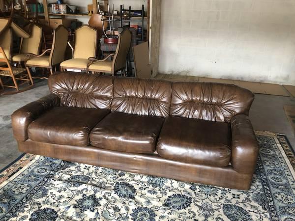 Vinyl Brown Couch - $25