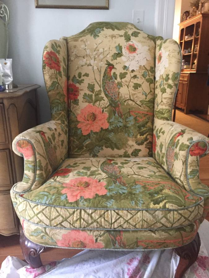 Pair of Henredon Peacock Fabric WingBack Chairs - $400