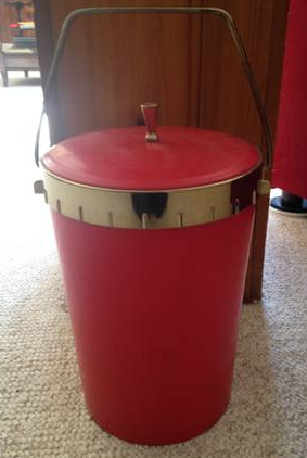 VINTAGE RED ICE BUCKET - $25
