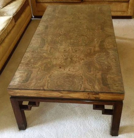 VINTAGE BURL MAPLE TOP COFFEE TABLE - $125