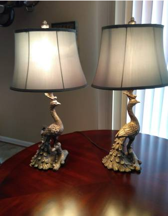 PAIR OF PEACOCK LAMPS - $50