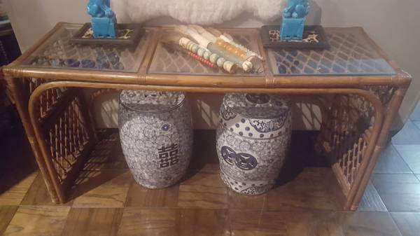 Rattan Console Table - $60