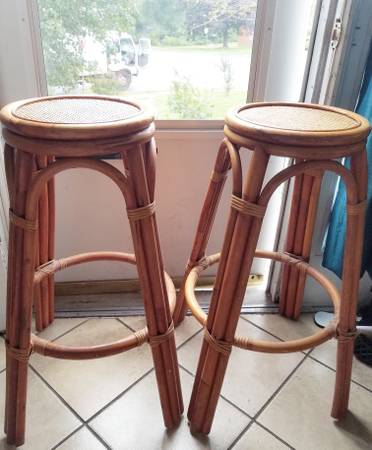 Pair of Rattan Barstools - $25
