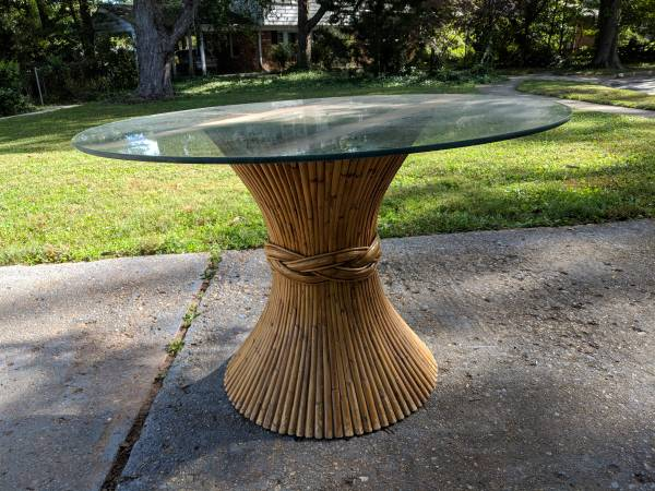 Vintage Glass Table with Bamboo Base - $150