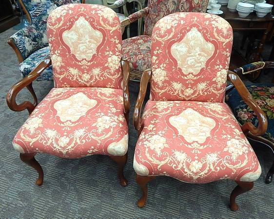 Pair of Red Toile Queen Anne Chairs - $295