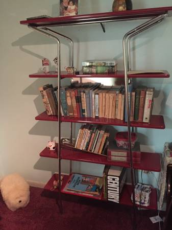 Chrome and Lacquered Wood Etagere - $80