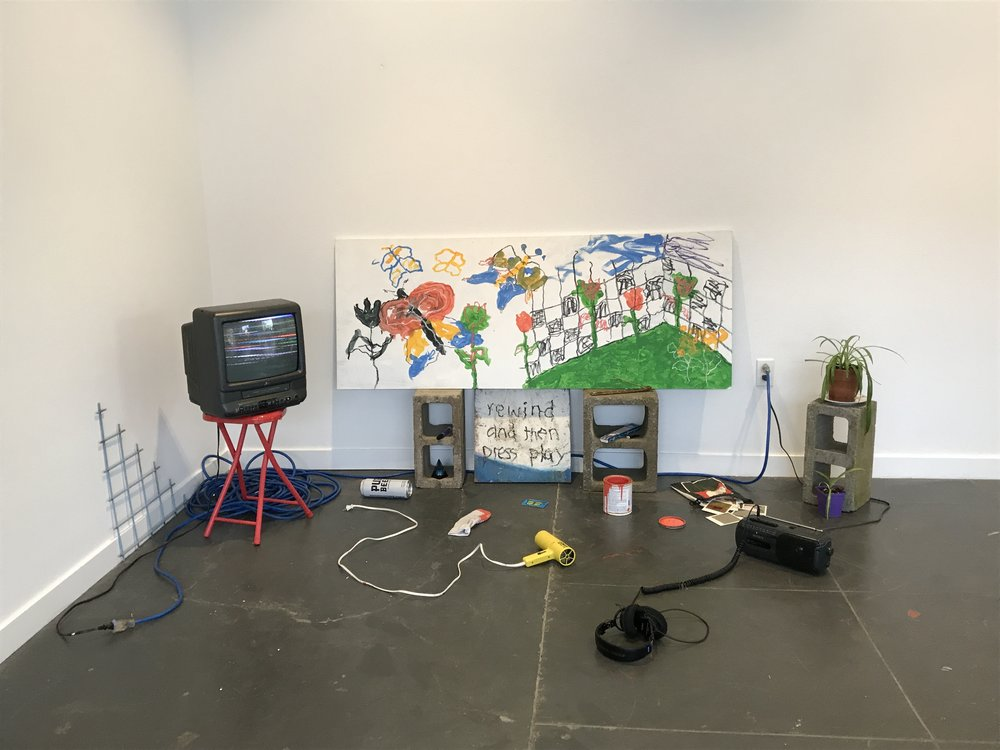 """Feed Back"" Paint, VHS video, and audio cassette for Prequel at ANX Gallery"