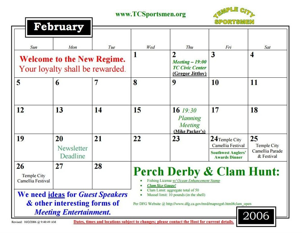 2006 Calendar2JPG Calendar Of Events