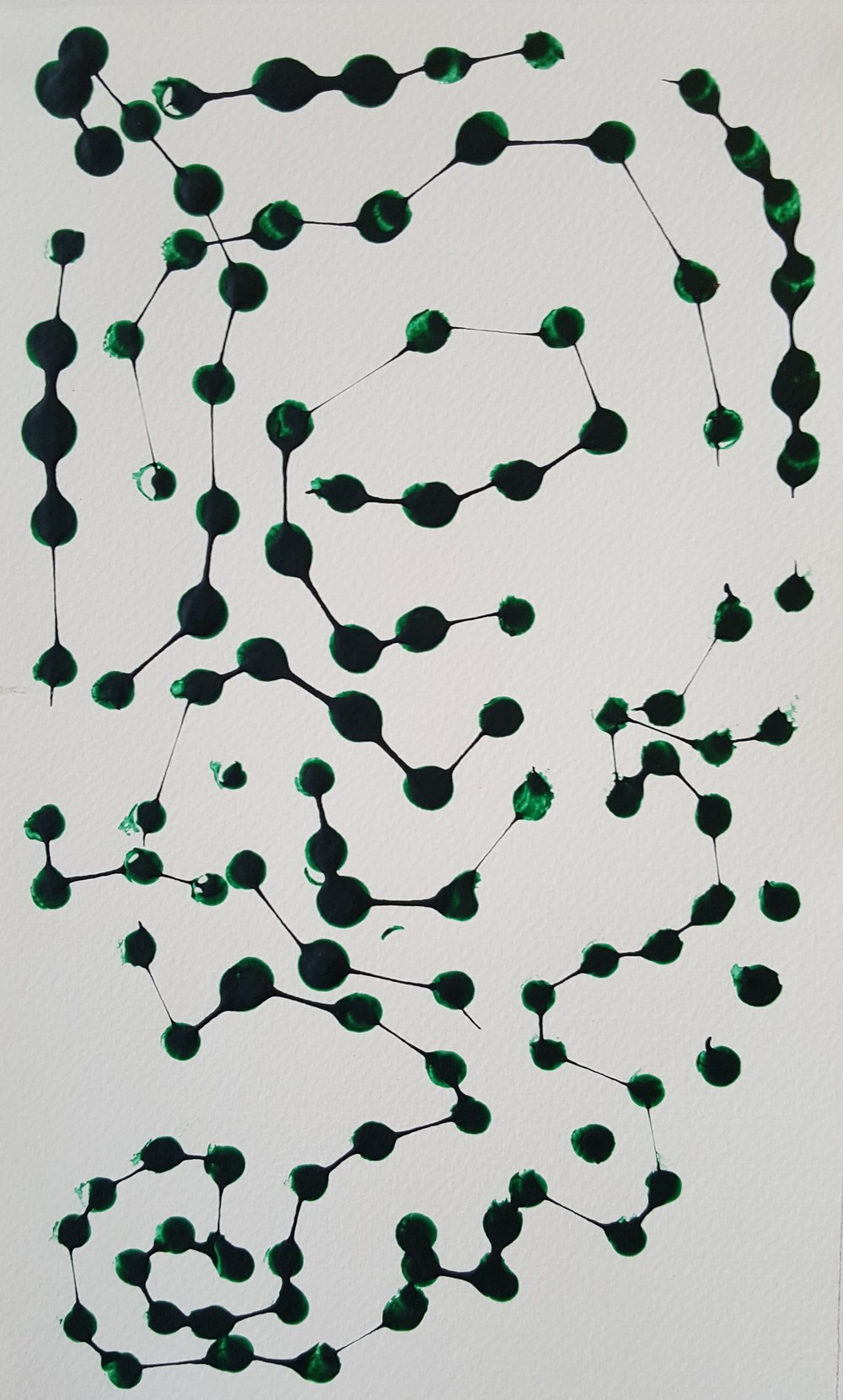 Green Dots (2016): acrylic on paper 18cm x 30cm