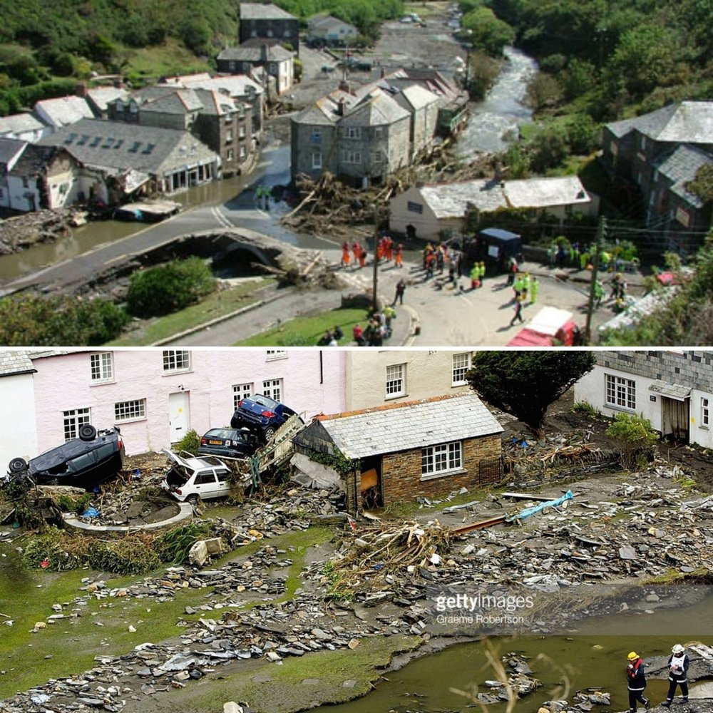 Images from the 2004 flood (photo: BBC & Getty)