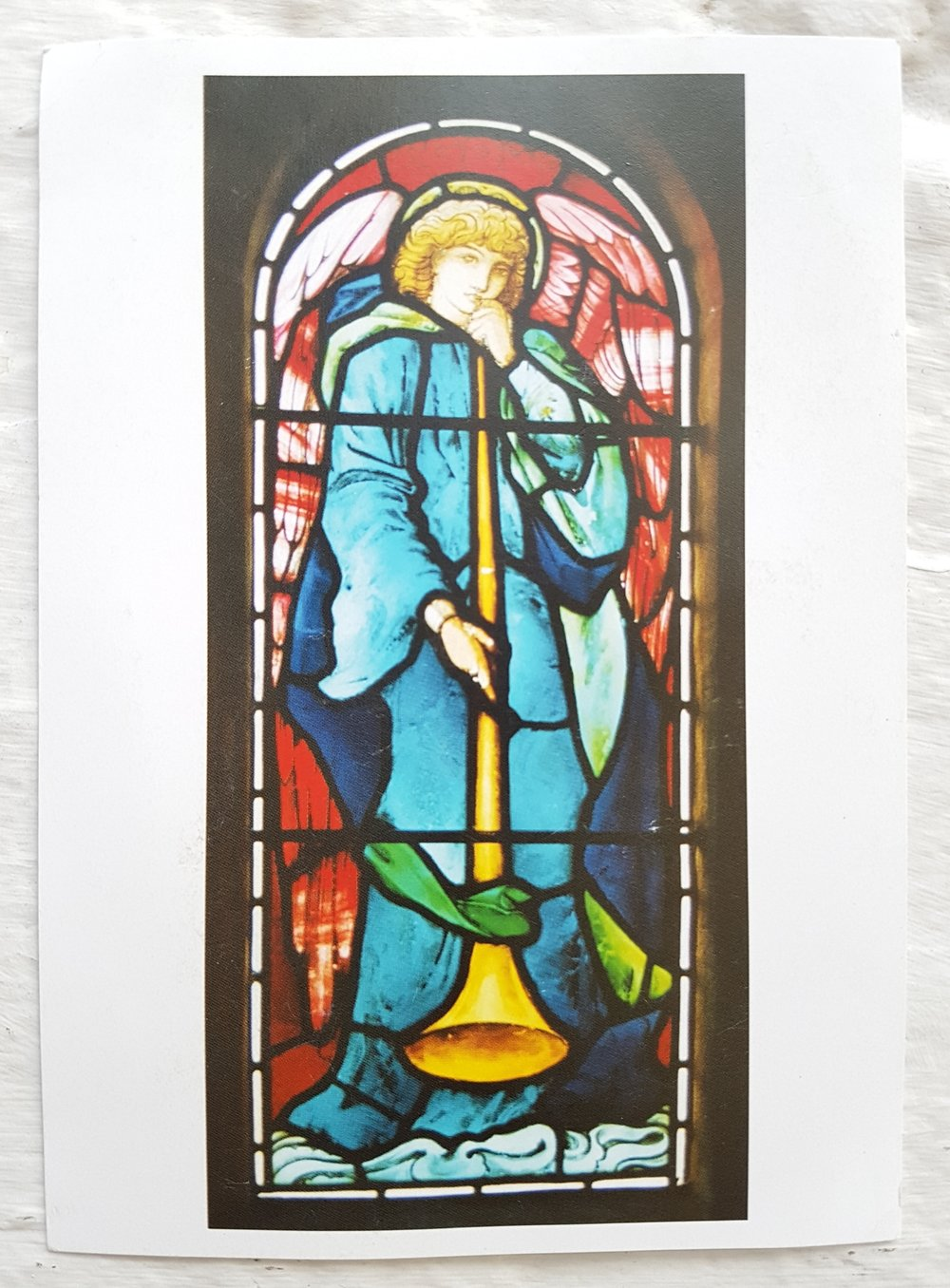 Postcard of window by Morris and Burne-Jones