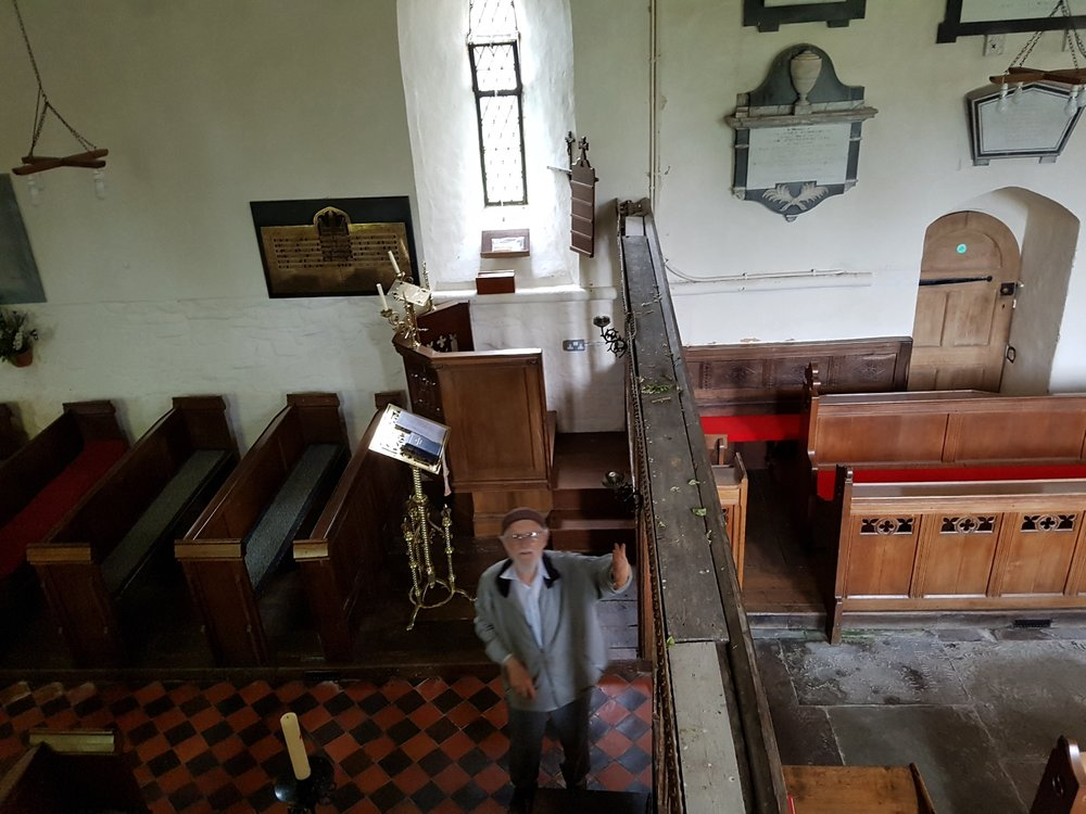 Dennis as seen from the top of the rood screen stairs.