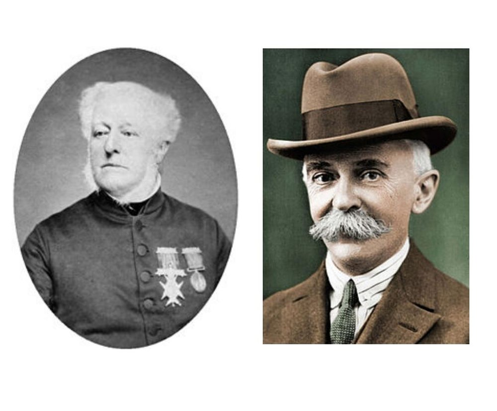 Dr William Penny Brookes & Baron Pierre de Coubertin (photos: Wikimedia Commons)