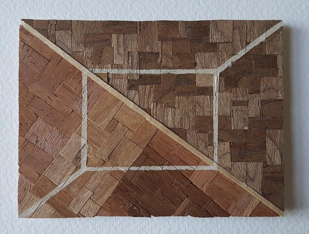 Series 64-1 (2013): wood veneers and mixed media 10cm x 8cm