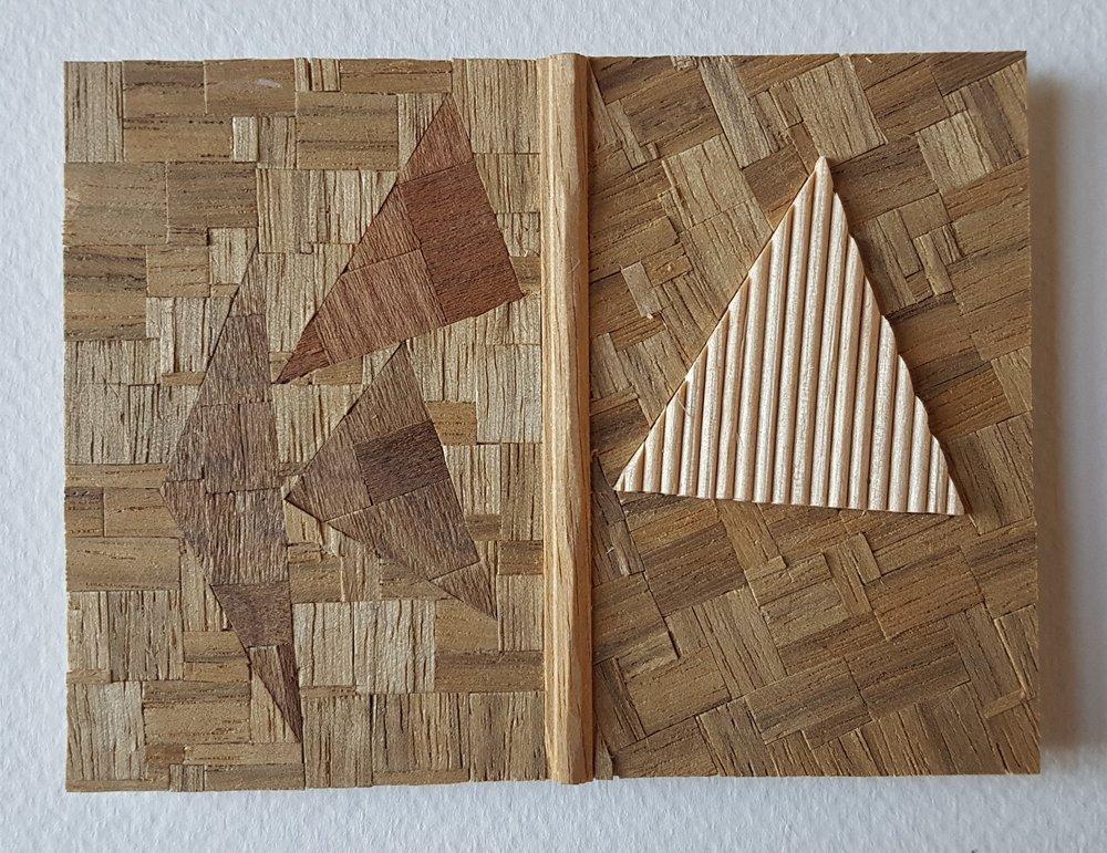 Series 64-2 (2013): wood veneers and mixed media 10cm x 8cm