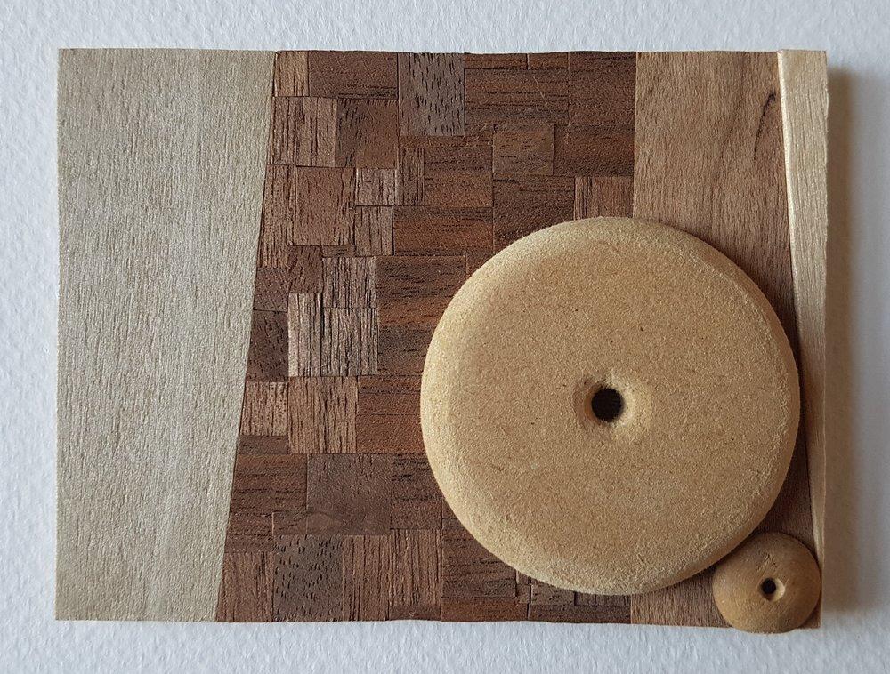 Series 64-3 (2013): wood veneers and mixed media 10cm x 8cm