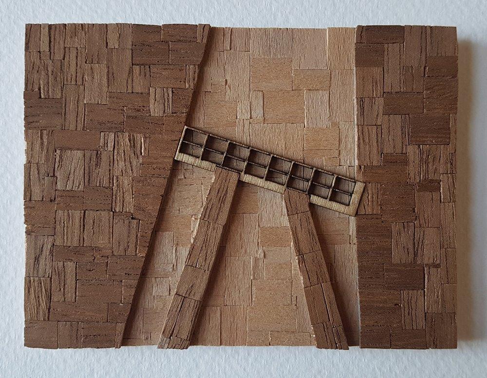 Series 64-4 (2013): wood veneers and mixed media 10cm x 8cm