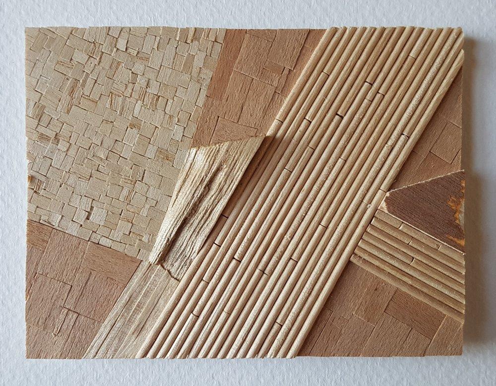 Series 64-5 (2013): wood veneers and mixed media 10cm x 8cm