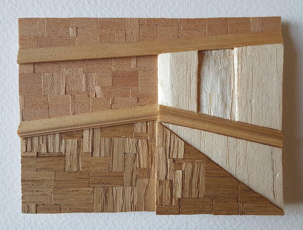 Series 64-6 (2013): wood veneers and mixed media 10cm x 8cm