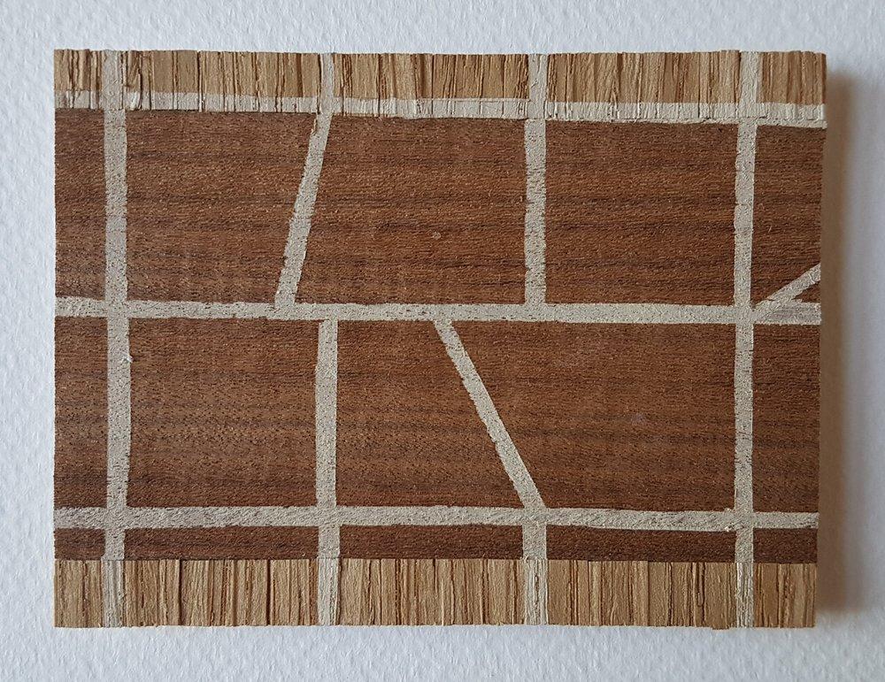 Series 64-8 (2013): wood veneers and mixed media 10cm x 8cm