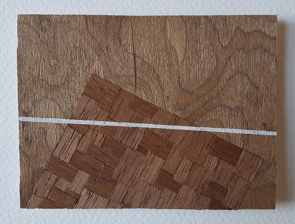 Series 64-7 (2013): wood veneers and mixed media 10cm x 8cm