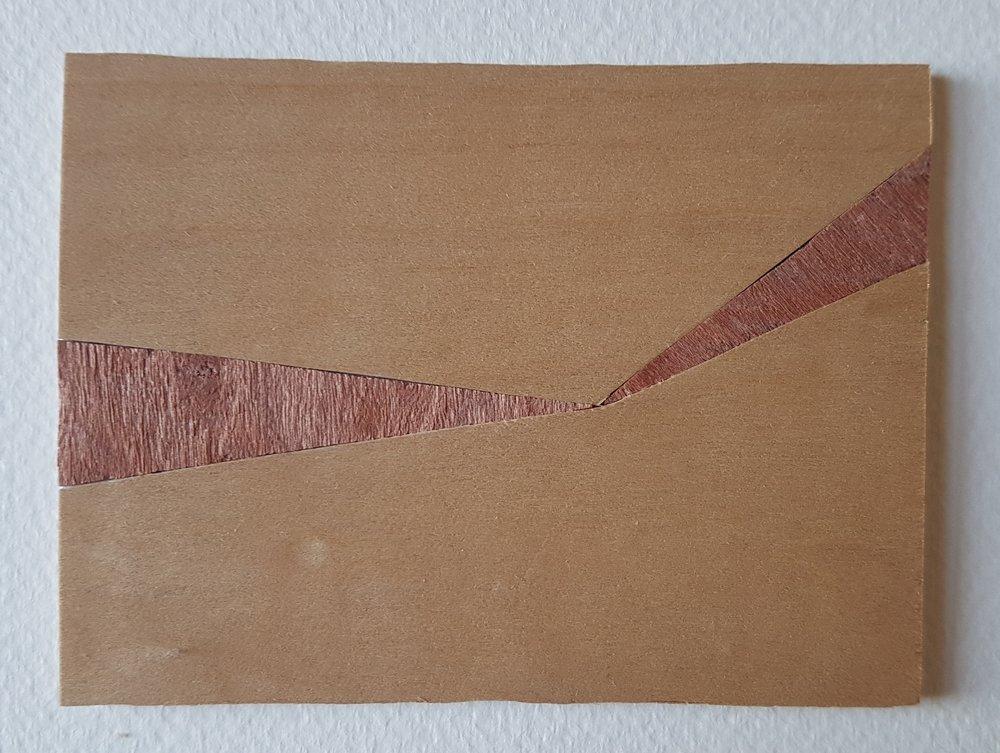 Series 64-10 (2013): wood veneers and mixed media 10cm x 8cm