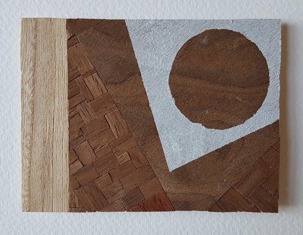 Series 64-9 (2013): wood veneers and mixed media 10cm x 8cm