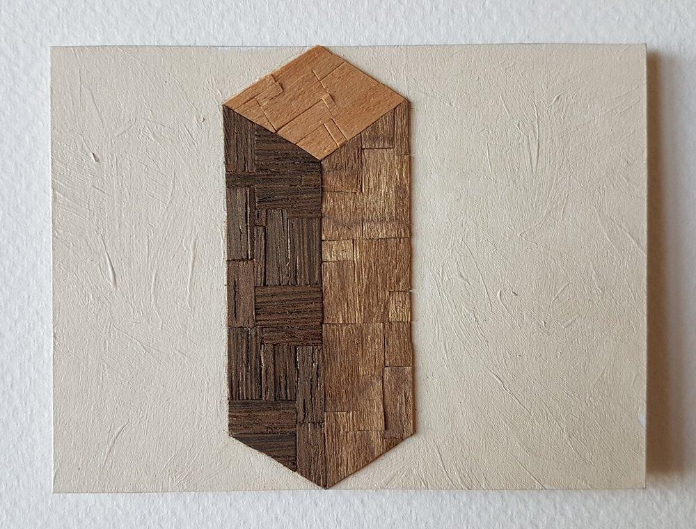 Series 64-11 (2013): wood veneers and mixed media 10cm x 8cm