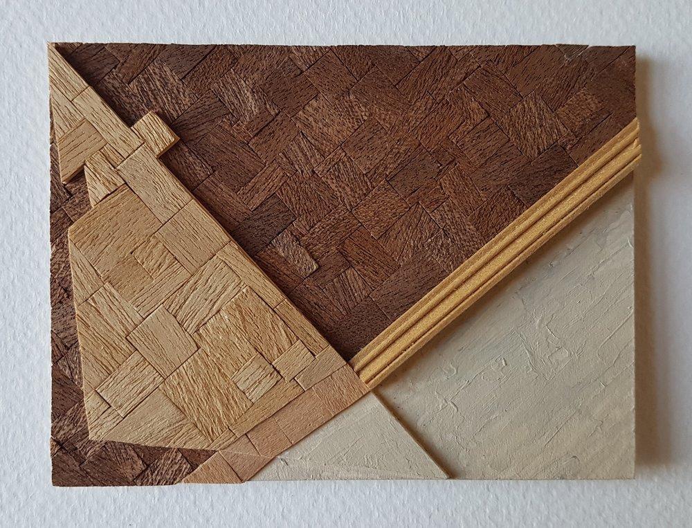 Series 64-12 (2013): wood veneers and mixed media 10cm x 8cm