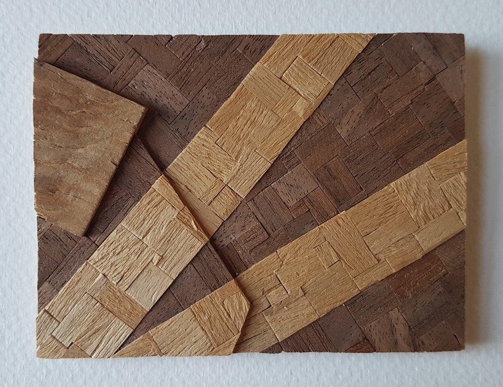 Series 64-13 (2013): wood veneers and mixed media 10cm x 8cm