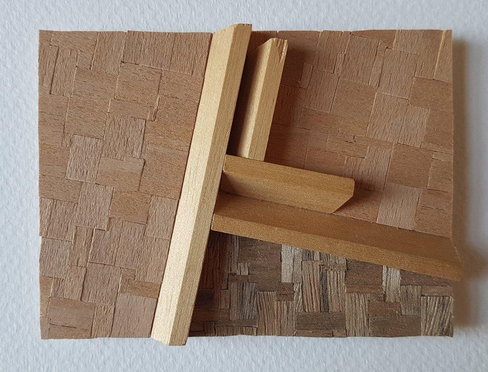 Series 64-14 (2013): wood veneers and mixed media 10cm x 8cm