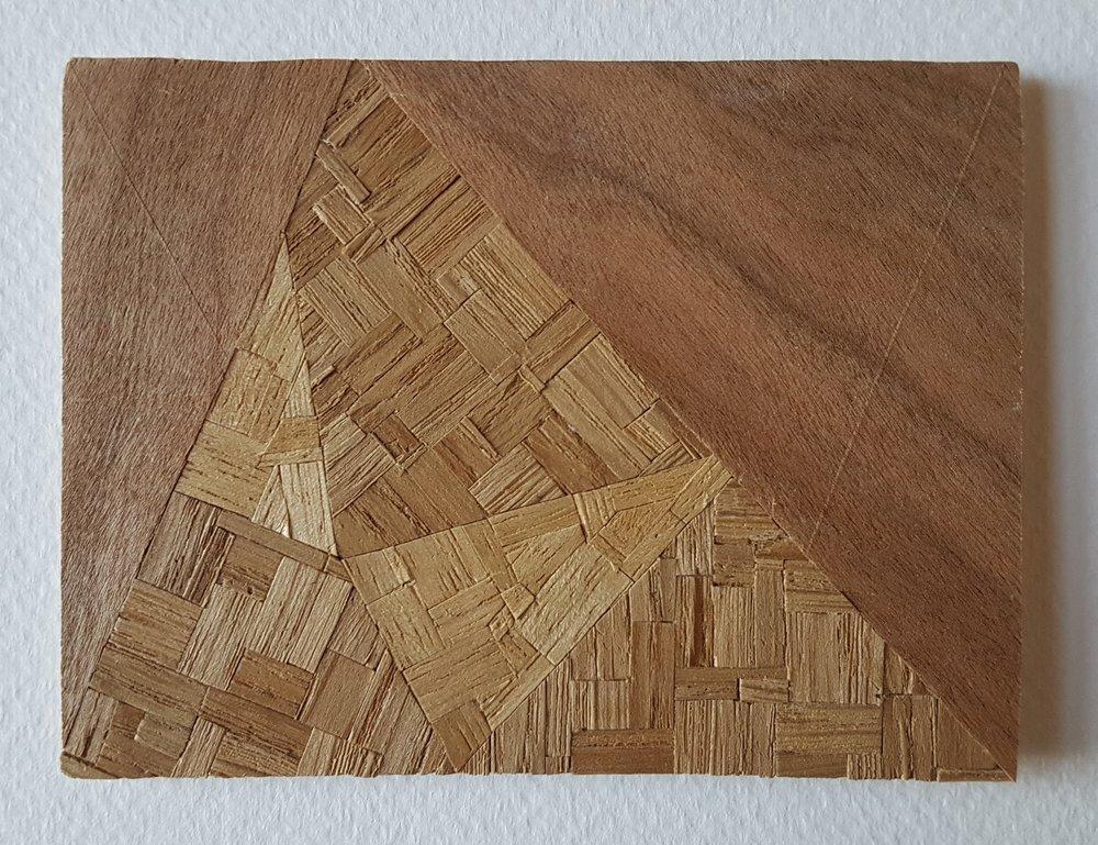 Series 64-15 (2013): wood veneers and mixed media 10cm x 8cm