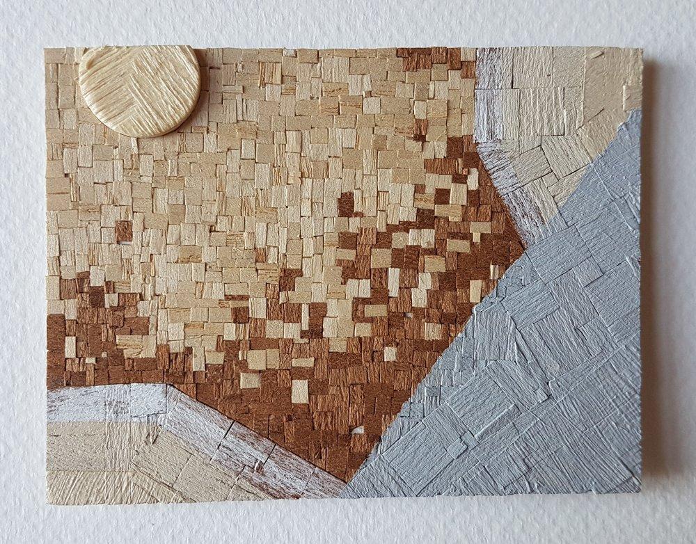 Series 64-16 (2013): wood veneers and mixed media 10cm x 8cm