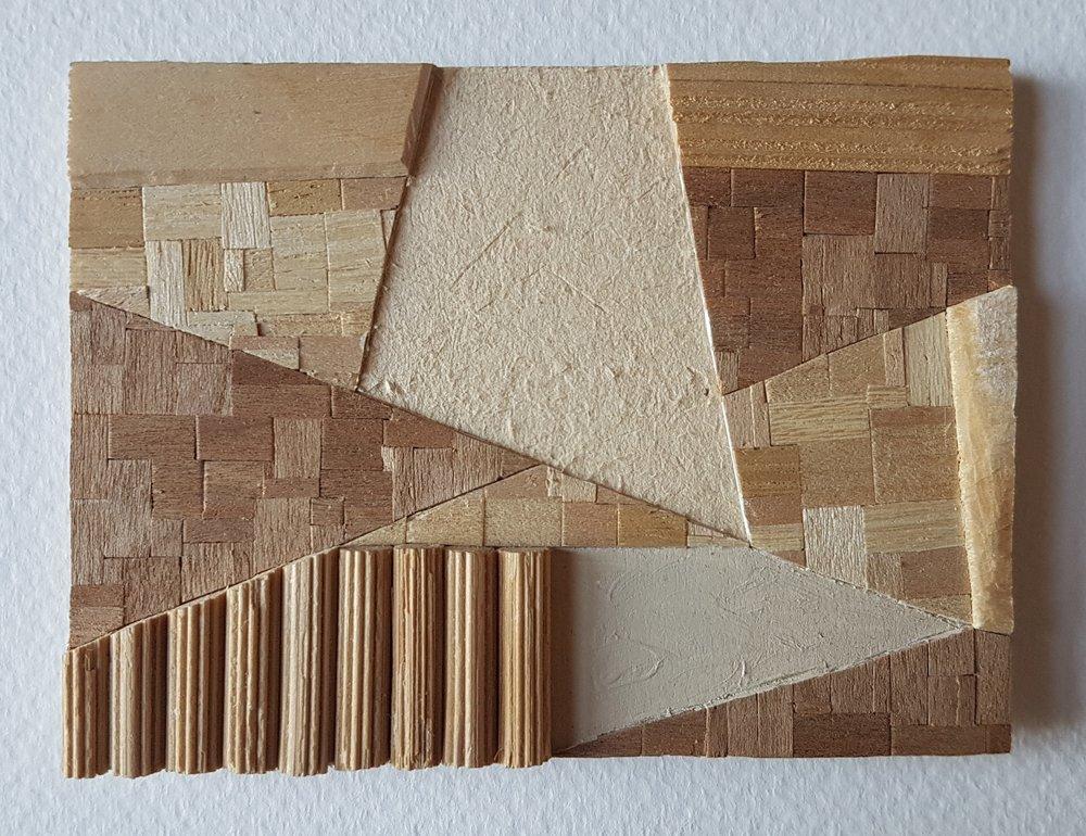 Series 64-17 (2013): wood veneers and mixed media 10cm x 8cm