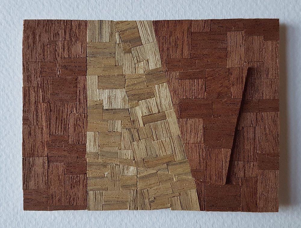 Series 64-18 (2013): wood veneers and mixed media 10cm x 8cm