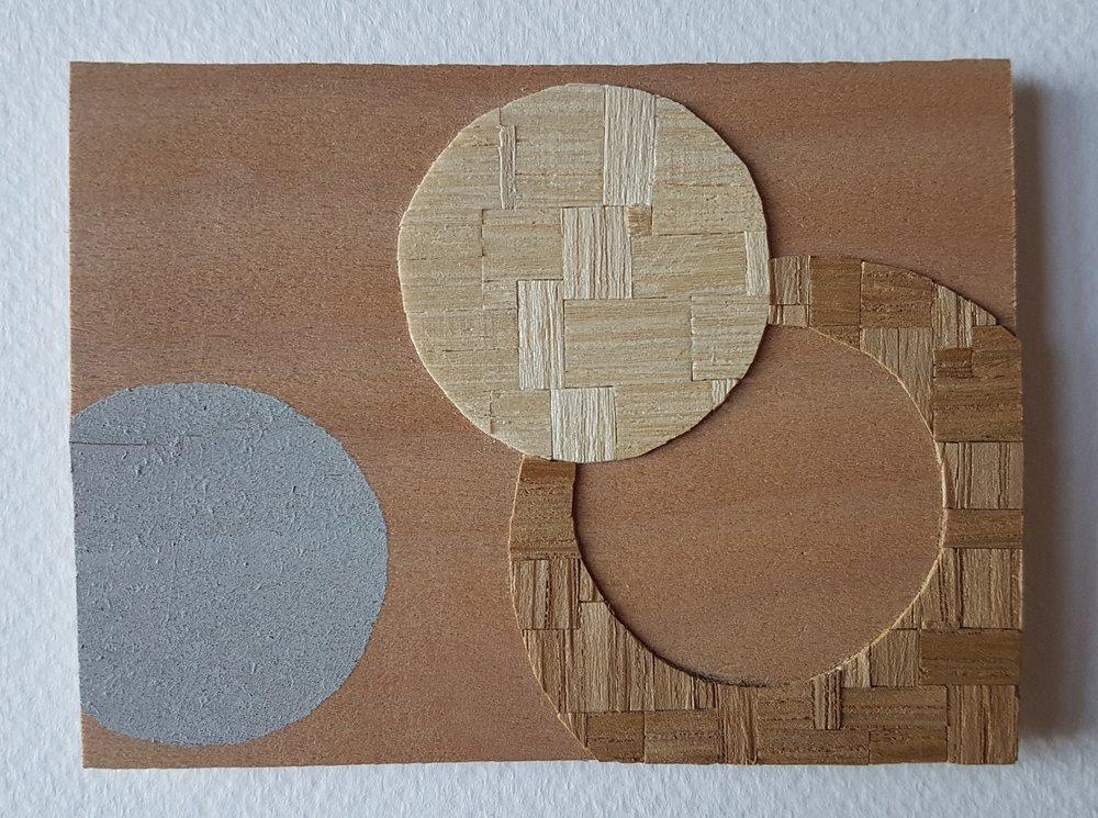 Series 64-19 (2013): wood veneers and mixed media 10cm x 8cm