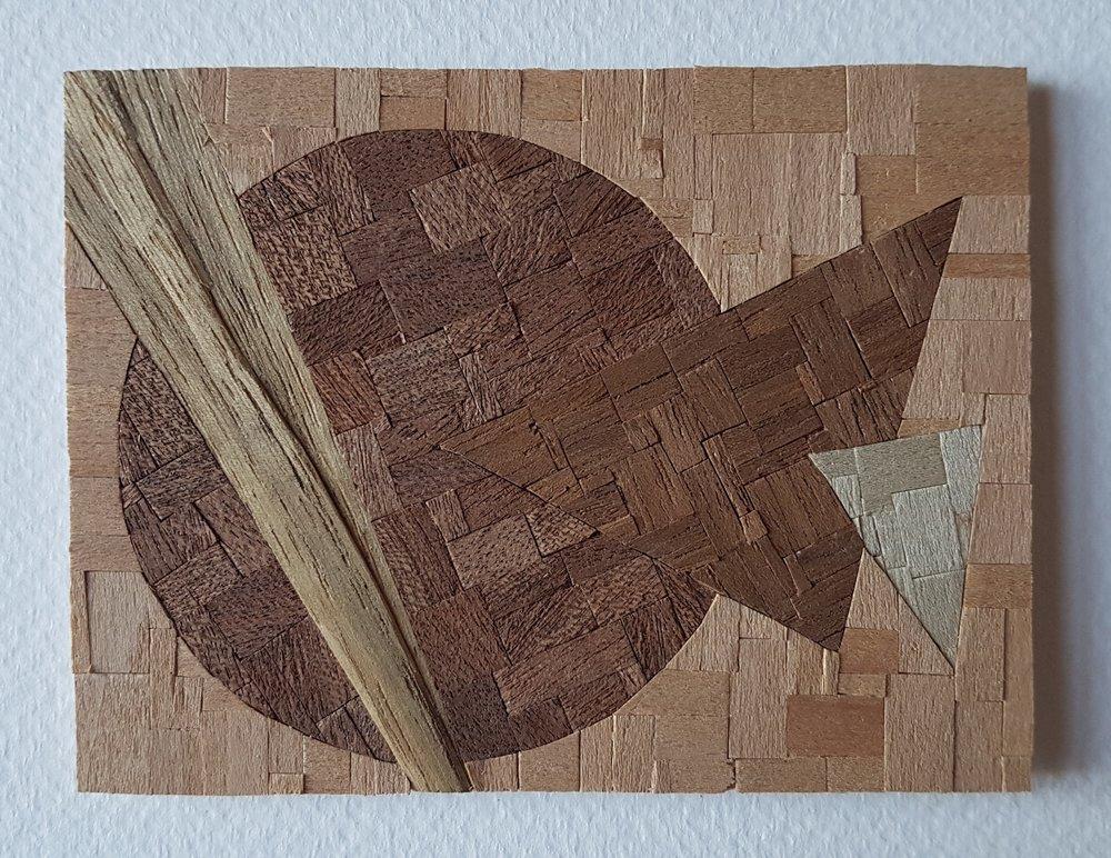 Series 64-20 (2013): wood veneers and mixed media 10cm x 8cm