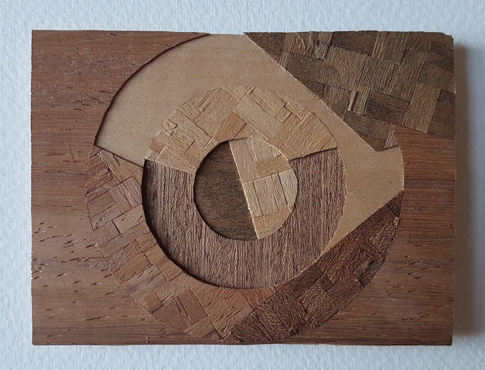Series 64-21 (2013): wood veneers and mixed media 10cm x 8cm