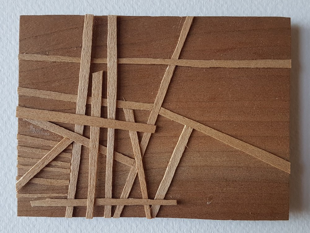 Series 64-22 (2013): wood veneers and mixed media 10cm x 8cm