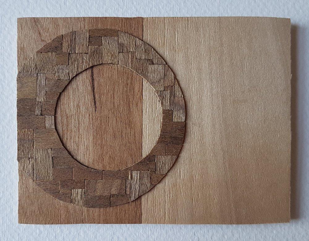 Series 64-23 (2013): wood veneers and mixed media 10cm x 8cm