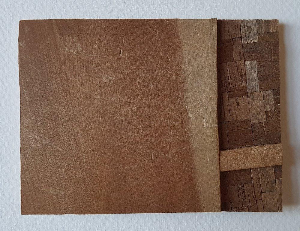 Series 64-24 (2013): wood veneers and mixed media 10cm x 8cm