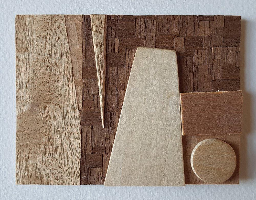 Series 64-25 (2013): wood veneers and mixed media 10cm x 8cm