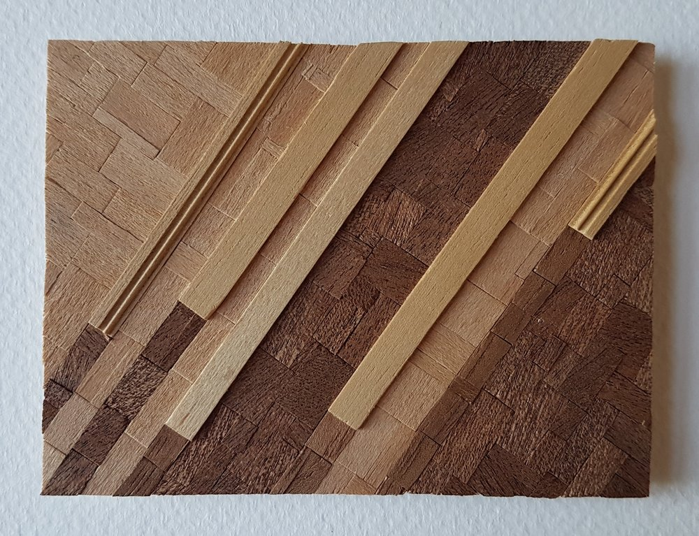 Series 64-26 (2013): wood veneers and mixed media 10cm x 8cm