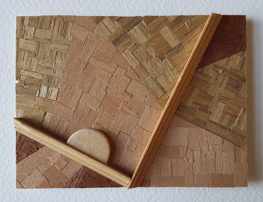 Series 64-27 (2013): wood veneers and mixed media 10cm x 8cm