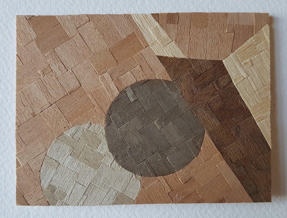 Series 64-28 (2013): wood veneers and mixed media 10cm x 8cm