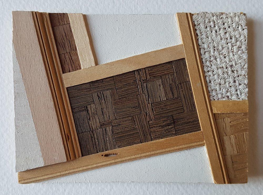 Series 64-29 (2013): wood veneers and mixed media 10cm x 8cm