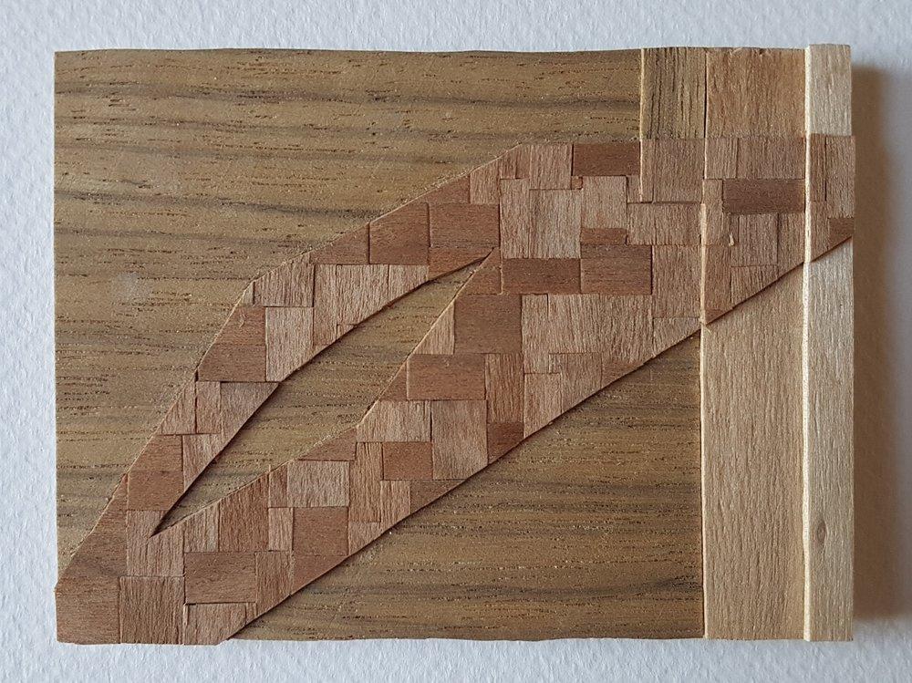 Series 64-31 (2013): wood veneers and mixed media 10cm x 8cm