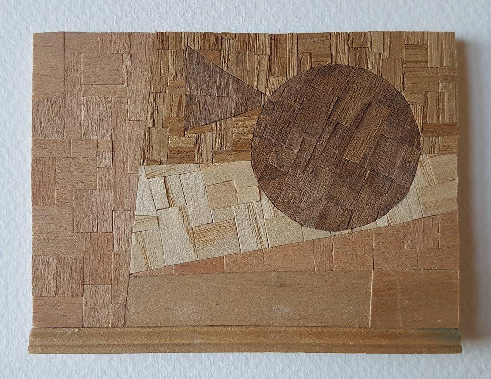 Series 64-30 (2013): wood veneers and mixed media 10cm x 8cm