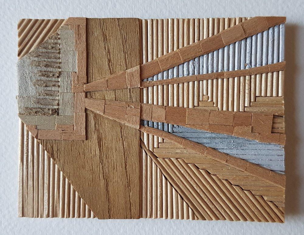 Series 64-32 (2013): wood veneers and mixed media 10cm x 8cm