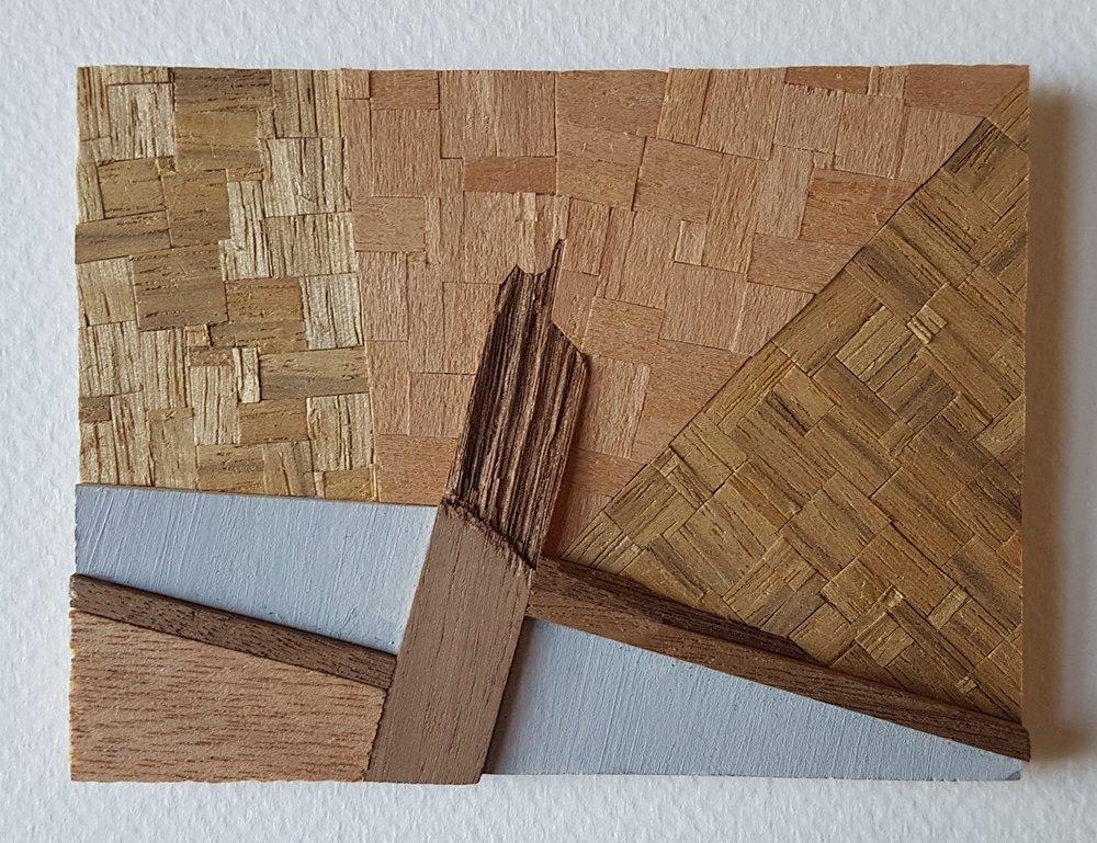 Series 64-34 (2013): wood veneers and mixed media 10cm x 8cm